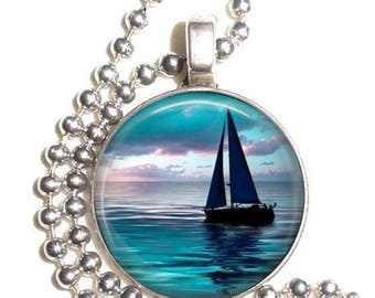 Sunset Sailboat Art Pendant Necklace, Earrings & Key-chain, Blue Sea Photo Jewelry
