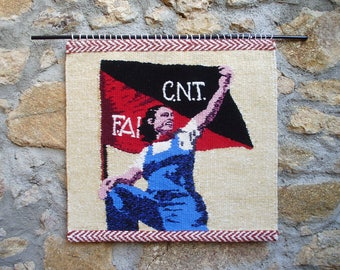 Large Revolutionary Woman Tapestry Portrait - Spanish Civil War - Anarchist Militia Woman - CNT Labor Union Flag - Feminist Woven Wall Art