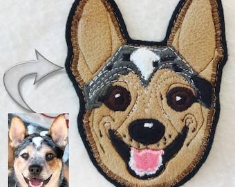 Dog Portrait Patch. Personalized Custom Dog Gift. Textile Art.