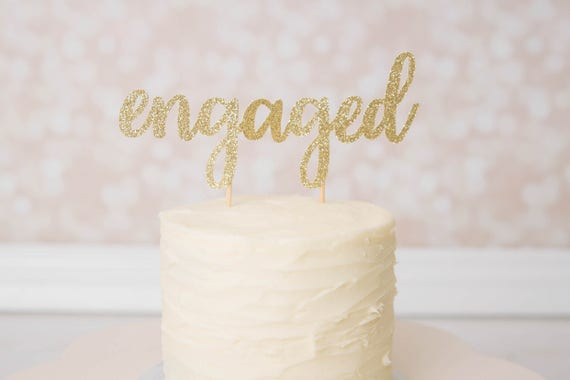 Engaged Cake Topper - Glitter - Engagement Party. Bachelorette Party. Bridal Shower. Engagement Photo Prop. Bride to Be. Engagement Cake.