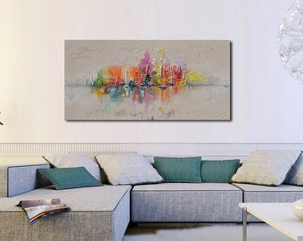 Skyline Abstract painting, Colorful Modern Oil Painting on canvas, texture, Cityscape, Abstract Art, Wall Art,Original Artwork,Made to order