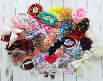 DIY baby headband grab bag kit, headband supply, flower supply, baby shower headband kit, baby headband making lot, wholesale supply lot