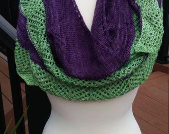 Knit Shawl - Purple and Green