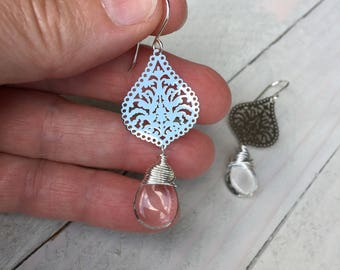 Filigree Earrings Silver Earrings Laser Cut Dangle Earrings Clear Earrings Made in USA Drop Earrings Rhodium Earrings Made in Texas