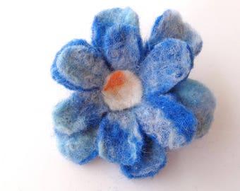 Brooch: blue color Merino Wool felted flower.