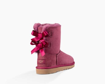 Custom Kids Youth UGG Boots Short Bailey Bow Pink Tan Rose Black w/ Swarovski Crystal Rhinestone Jewel Winter Bling Dynamite Rhinestone Gift
