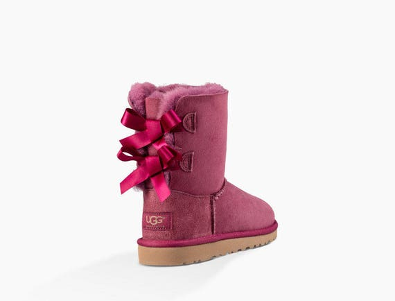 Custom Kids Youth Raspberry Pink UGG Boots Short Bailey Bow w/ Swarovski Crystal Rhinestone Jewel Winter Bling Dynamite Rhinestone Gift