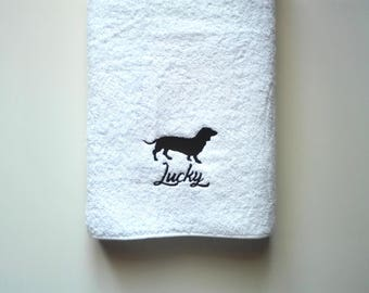 Handmade Tax Dog Personalized Bath and Shower Towel // Embroidered Color Towel for Pets