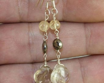 rutilated quartz gold earrings pyrite and silver
