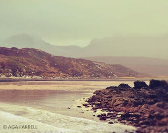 Landscape Wall Art, Mountain Photography, Scottish Beach Print, Coastal Decor, Mountains in Fog, Atlantic Beach Art, Landscape Photography