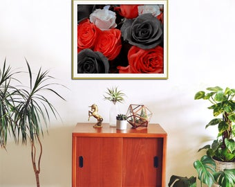 Flower Wall Art, Rose Photography, Black and Red Art, Large Art, Scarlet Red, Black Rose, Nature Photography, Crimson