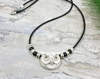 Owl Statement Necklace, Gray Owl Necklace, Owl Jewelry, Owl Pendant Necklace, Nature Jewelry, Bird Jewelry, Owl Totem Necklace, Owl Familiar