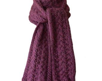 Hand Knit Scarf - Purple Mauve Heather Cedar Creek Reversible Cable Alpaca