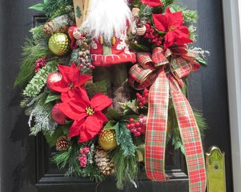 Santa Wreath, Christmas Door Wreath, Holiday Wreath, Country Christmas Wreath, Skiing Santa, Christmas Wreath, Grenadine, ChristmasinJuly