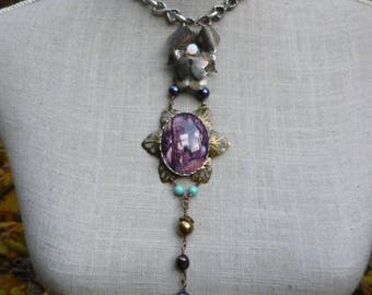"""Fairy necklace, retro, cabochon, antique brooch, brass and """"The naiad"""" Crystal beads"""