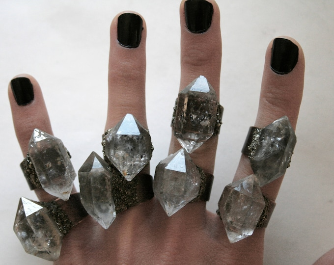 Tibetan Clear Quartz Crystal Ring - Medium Size Crystal