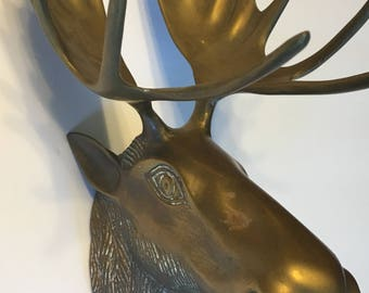 Small Vintage Brass Moose Head Faux Taxidermy