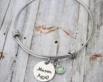 Mother Bracelet - Personalized - Expandable - Adjustable - Name - Date - Birthstone - Family Tree - New Mom - Hand Stamped Jewelry