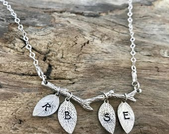 Leaf initial necklace   Family tree necklace   Tree branch necklace   Sterling silver twig necklace   Leaf jewelry   Leaf pendant necklace