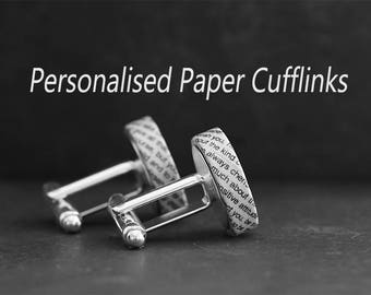 1st Anniversary Gift, Personalised Paper Cufflinks, Made from Your Wedding Vows or First Song Lyrics, Custom Engraving