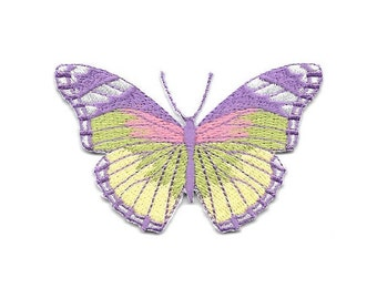 Butterfly - Lavender - Yellow - Green - Embroidered Iron On Applique Patch - B