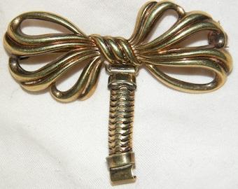 Retro Locket Brooch Figural Retro Modernist Bow Watch Pin Locket Pin Brooch