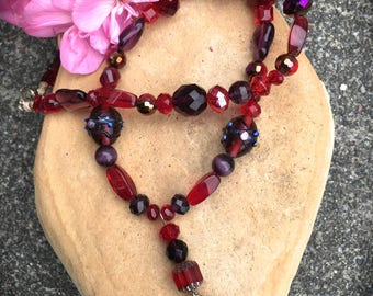 RED HAT Necklace-Rhinestone Red and Purple Hat Charm-Red and Purple Glass Beads from Around the World-RHS Necklace-Queen Necklace