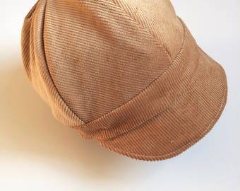 Newsboy Hat Reversible Baby or Childs Hat Paper Boy Tan Corduroy and Brown Houndstooth