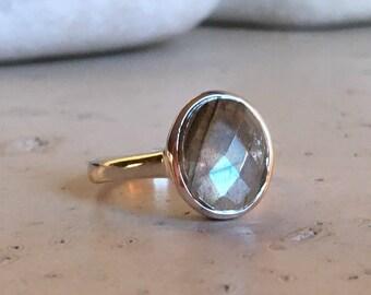 Silver Labradorite Stack Labradorite- Labradorite Ring- Gemstone Ring- Stone Ring- Oval Ring- Silver Ring- Ring