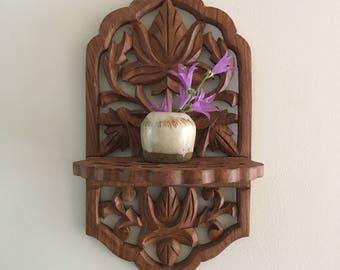 Small Wood Shelf - Carved Wood Shelf - Archana Handicrafts - Bohemian Decor