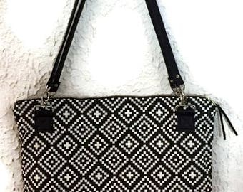 Zippered Tote Bag, Black and White Geometric Print Tote, Large Zipper Bag, Black Vinyl Tote,  Large Zippered Tote, Black and White Tote