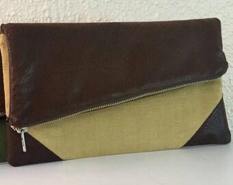 Foldover Clutch,  Fold Over Linen Bag,  Vegan Leather Foldover Bag, Gift for Her, Fold Over Clutch, Folded Clutch, Fold Over Bag