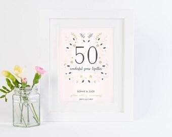 Golden Wedding Anniversary Personalised Print