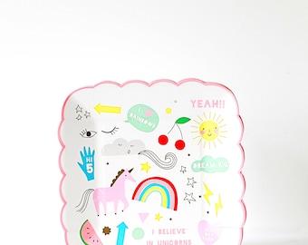 Small Unicorn Party Plates - Meri Meri- Party Decor Supplies, Fairytale, Magical, Themes, Trending, Unicorns, Pink, Gold, Birthday