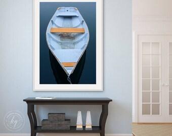 Coastal Wall Artwork, Large Blue Rowboat Photograph, Kennebunkport Maine Photography, Nautical Decor, Cape Porpoise Art, Vertical Boat Print