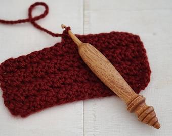 OOAK Wood Crochet Hook, Size J-10 (6 mm), Ergonomic, Wooden Crocheting Tool, Handcrafted Wooden Crochet Hooks
