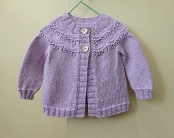 Baby girl's lilac cardigan with lacy yoke, hand knit baby sweater, girl 6 months, baby knitwear, knitted baby cardigan, pure wool