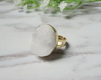 White Agate Druzy Drusy Golden Mineral Ring Raw Gemstone Rough Statement Adjustable Ring 716