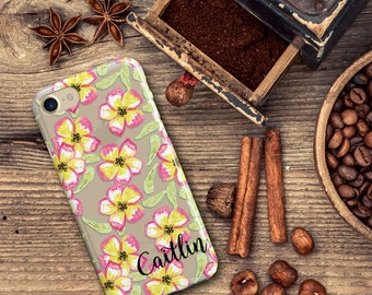 Clear iPhone X case with design, Floral Iphone 8 case transparent, Yellow and pink flowers - For 5/5s/SE,  6/6s, 7/8, Plus and X  (1819)