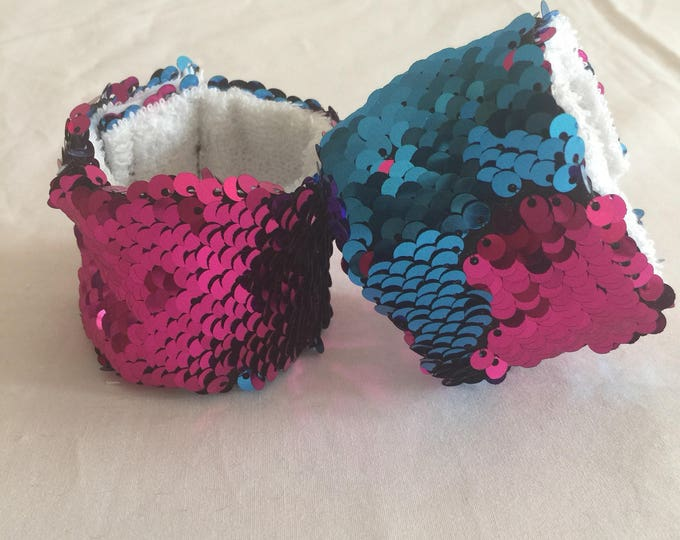 Sequin Mermaid Bracelet, Sensory Tool, Blue and Pink Double sided sequin, School Spirit Accessory, Calming bracelet, Kids bracelet
