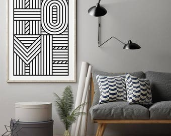 Typography Print, Scandinavian Print, Black and White, Digital Download Large Downloadable Poster, Instant Download, Minimal Design Print