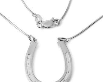 ON SALE HORSESHOE Charm Necklace In Sterling Silver