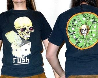 Very Rare Pushead Designed 'Jack in the Box' RUSH Roll The Bones Tour T-shirt Size L Vintage 1990s