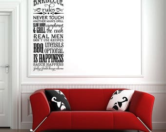 50% OFF SALE - Barbecue Rules Vinyl Wall Decal Quote (23 x 55 inches, Black) L179