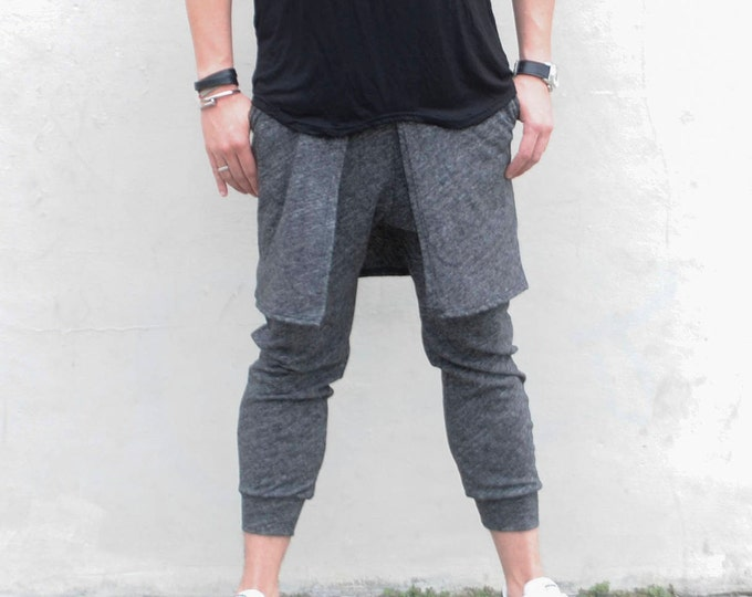 Mens Kilted Jogger Pant in (Darker) Heather Textured Grey