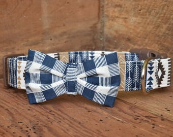 Bow Tie Dog Collar - Navy/Brown/Cream Aztec Print with Navy/Cream Gingham Bow Tie