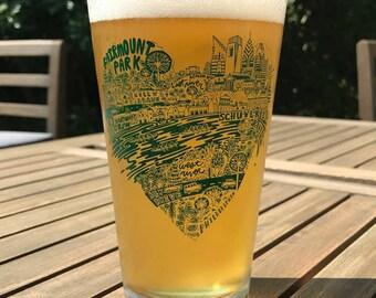 Fairmount Park / Schuylkill River -- Paul Carpenter Art -- Philly Artist Pint Glass