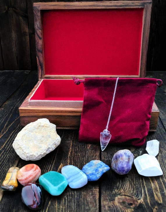 Crystal Chakra Kit, Meditation Altar Set, Gift for Friend, Chakra Balancing Healing Stones, Tumbled Chakra Stones, Wiccan Divination Tools