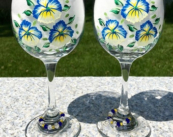 Wine Glasses Hand Painted Blue and Yellow Flowers Set of 2-12 oz Wine Glass Charms, Summer Glasses, Wedding Gift, Birthday Gift, Bestie Gift