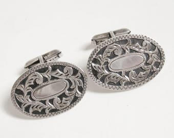DECO Vintage 1930s MEXICO Sterling Silver Floral Shadowbox PLATAREAL Cartouche Oval Swivel Cuff Links Plata Real Artisan Nouveau Cufflinks